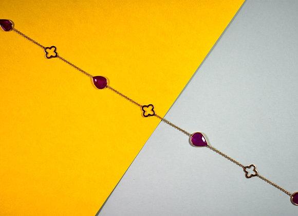 Ruby Bezel Chain with motifs in 18K Gold