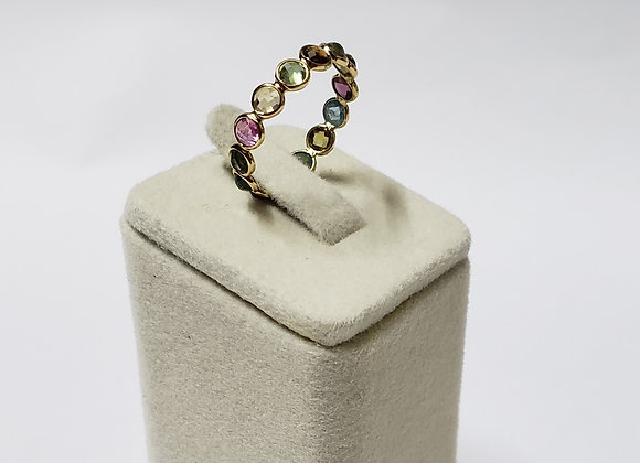 Multi Colour Tourmaline Eternity Band in 18K Gold