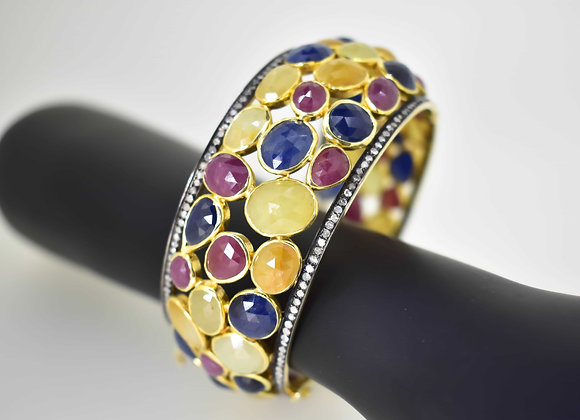 Elegant Gold-plated Sapphire Bangle with Diamonds in 925 Silver