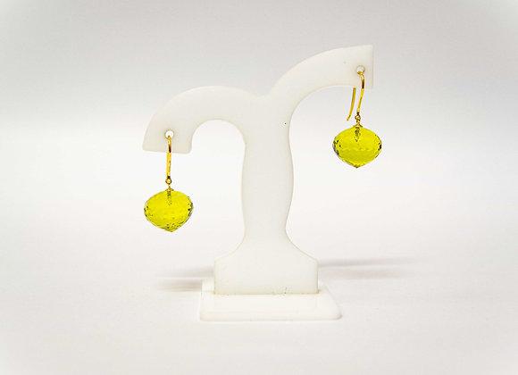 18K Gold Lemon Qaurtz Earring
