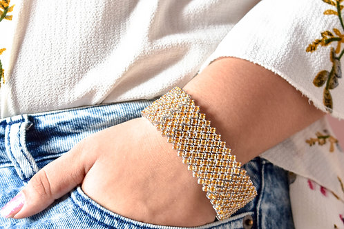 Robust Multi Line Citrine & Amethyst Bracelet