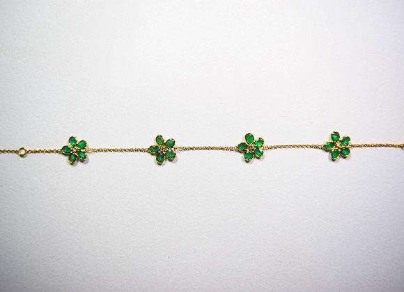 Exquisite Emerald Bracelet with Diamond in 18K Gold