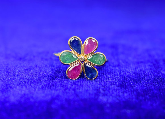 Beautiful Flower Ring with Diamond and Multi Precious stone