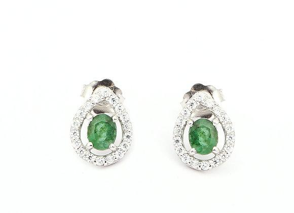 Emerald Stud Earring in 925 Silver