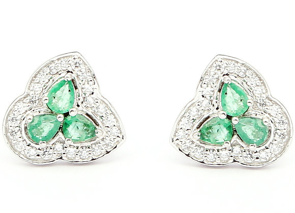 Unique-shaped Emerald Earrings in 925 Silver