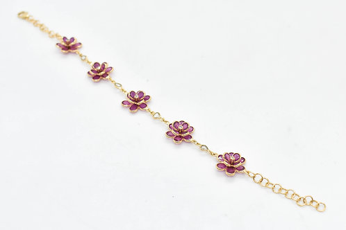 Statement ruby & diamond flower bracelet