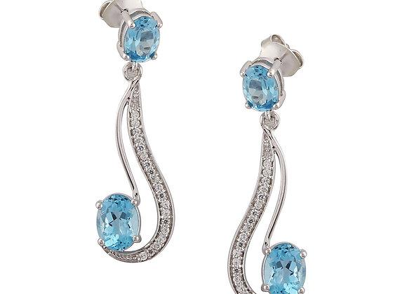 Modern Style Earring with Swiss Blue Topaz in 925 Silver