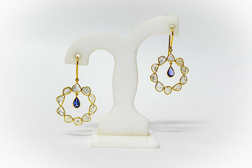 Diamond Polki & Tanzanite Earrings
