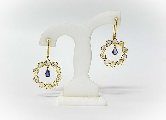 18K Gold Earring with Diamond Polki and Tanzanite