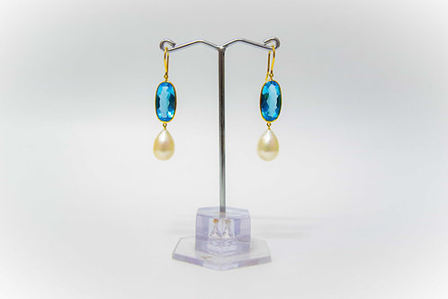 18K Gold Earring with Swiss BT and Pearl