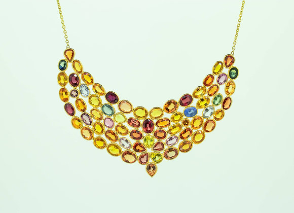 Clustered Multi-sapphire cut Necklace 18 Gold