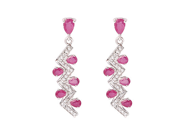 Long Ruby Earring in 925 Silver