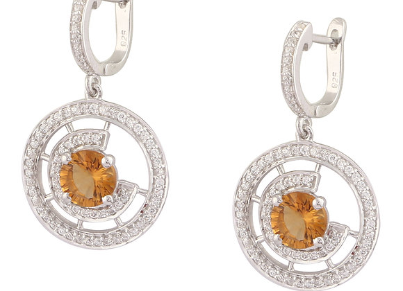 Discoid Earrings with Citrine in 925 Silver