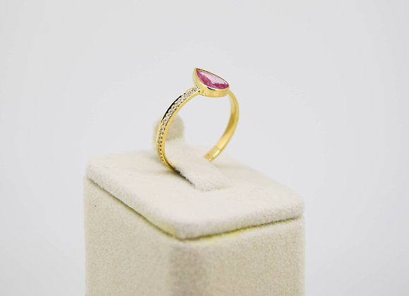 Premium Rose-Cut Pink Sapphire Ring with Diamond in 18K Gold