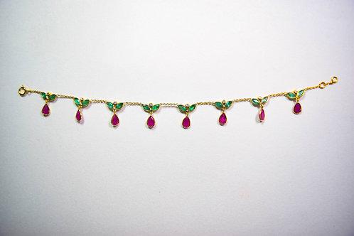 Emerald, Ruby & Diamond charm bracelet