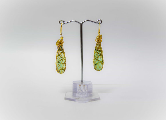 18K Gold Bundle Earring with interchangeable stone