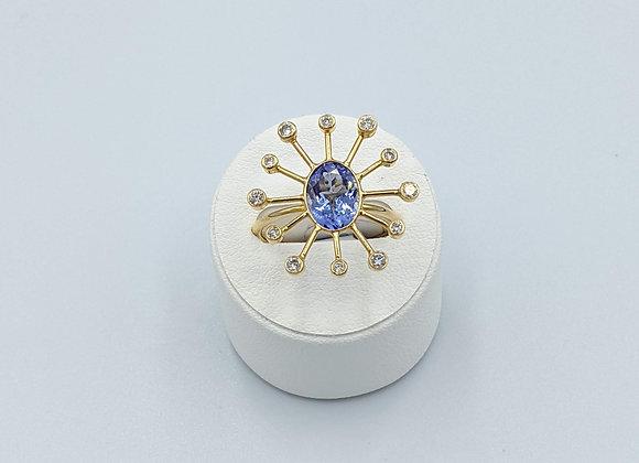 Rich Tanzanite & Diamond Ring in 18K Gold