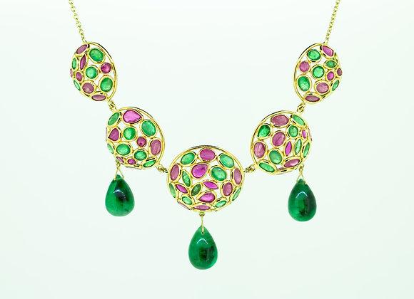 Royal Necklace Multi Precious stones and Emerald drops in 18K Gold.