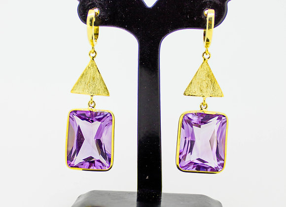 Rich Amethyst Earring with Triangle motif in 925 Sterling Silver;18K Gold Plated