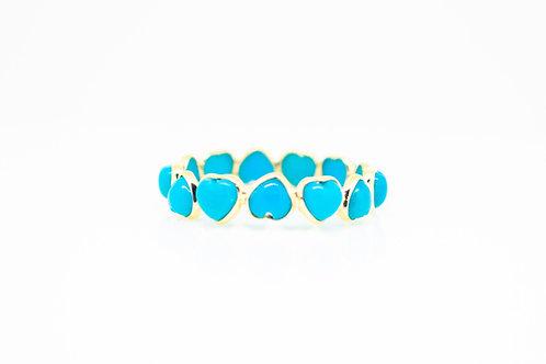Heart Shape Turquoise Eternity Band