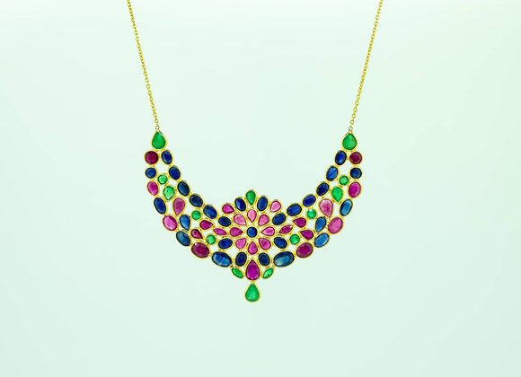 Mutli-precious Necklace in 18K Gold