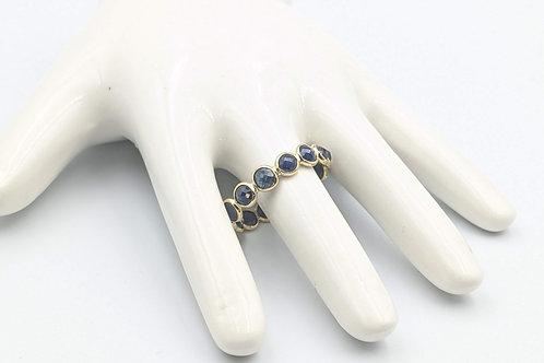 Blue Sapphire Cabs Eternity Band