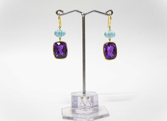 18K Gold Earring with Amethyst and Watermelon Cut Sky BT