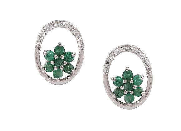 Circular Flower Emerald Stud Earring in 925 Silver