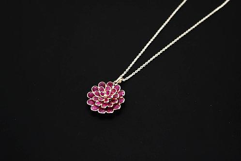 Tri-layered Ruby Flower Pendant with Diamond