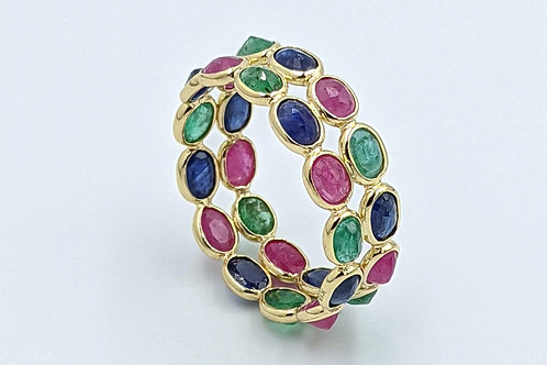 Double Band Stackable Eternity Band with Ruby, Emerald, and Sapphire