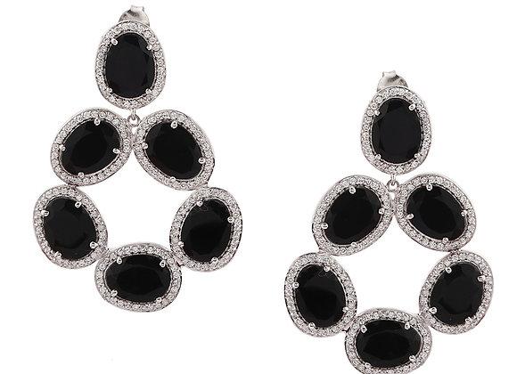 Black Onyx Cluster Earring in 925 Silver