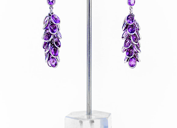 Amethyst Bunch Drop Earring in 925 Sterling Silver