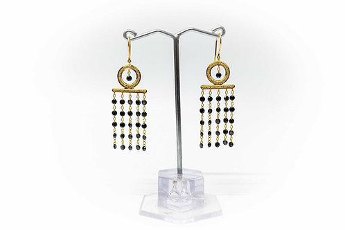 Black Diamond Ladder Drop Earrings with white diamond micro-pavé setting