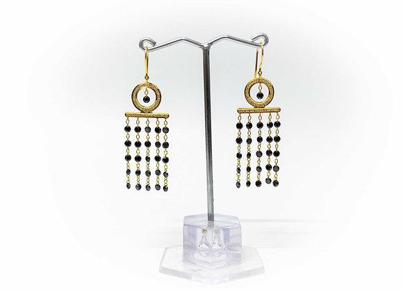 18K Gold Diamond Ladder Drop Earring