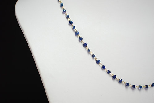 Drilled Blue Sapphire Minimal necklace with Ruby backdrop