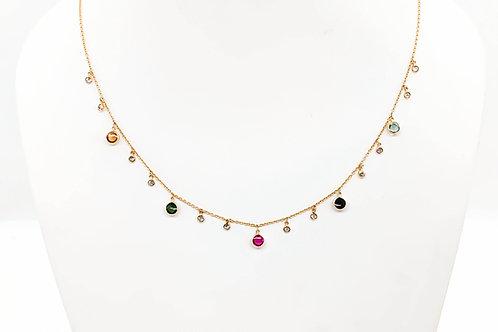 Diamond & Multi tourmaline charm necklace