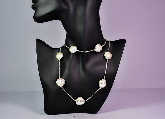 925 Silver Pearl Bezel Chain
