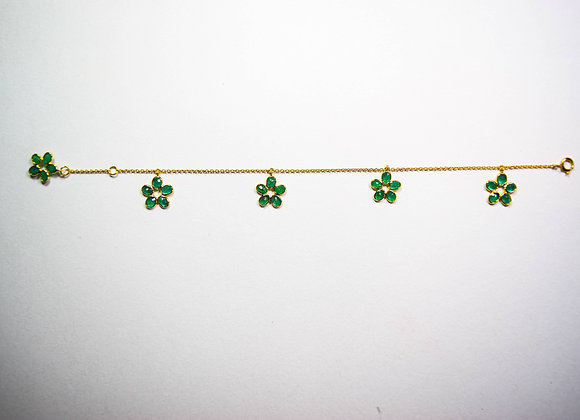 Flower Drop pattern Emerald Bracelet in 18K Gold