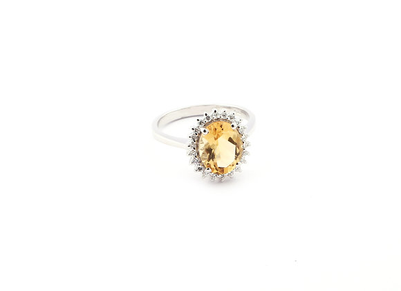 Oval Ring in Citrine with 925 Silver and CZ