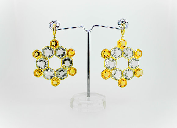 Bold Citrine and Green Amethyst Earring in 925 Sterling Silver; 18K Gold Plated