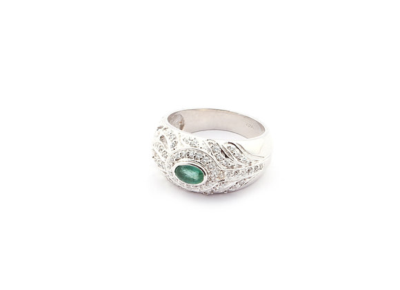 Robust style Ring with Emerald in 925 Silver