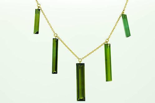 Dainty Green Tourmaline Baguette Necklace