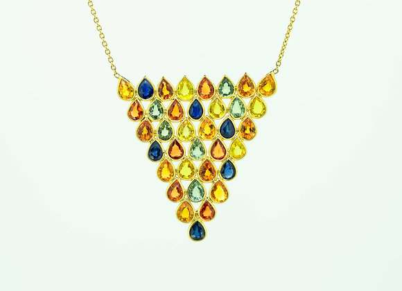 Triangle Multi-Sapphire Cut Necklace, 18K Gold