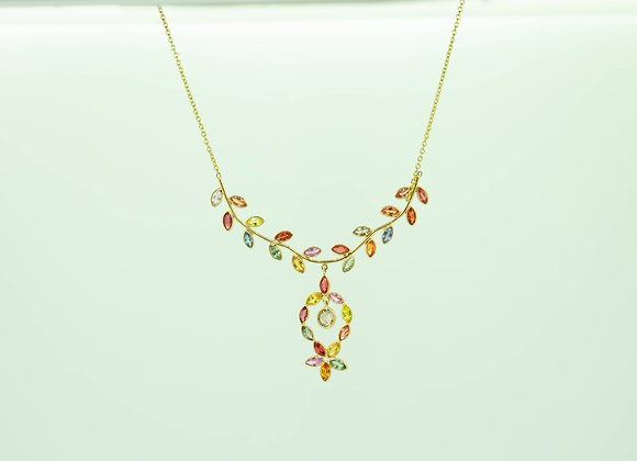 Multi-Sapphire Cut Necklace with Diamond drop in 18K Gold