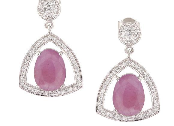 Ruby Earrings with CZ in 925 Silver