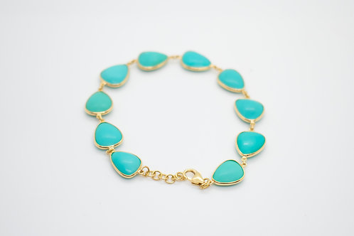 Single Line Turquoise Bracelet in 18K Gold