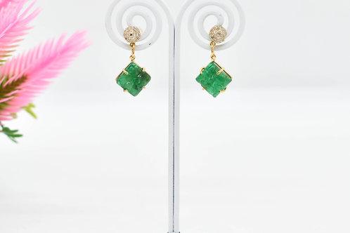 Emerald and Diamond micro-pavé half ball earring
