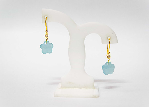 18K Gold Aquamarine Earring with Diamond