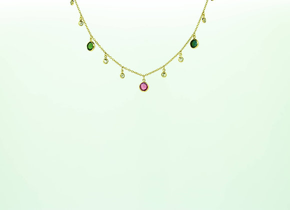 Elegant Tourmaline 18K Gold Necklace with Diamond
