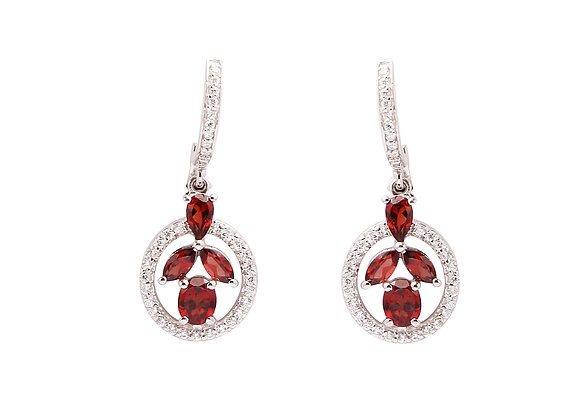 Beautiful Garnet Earring in 925 Silver